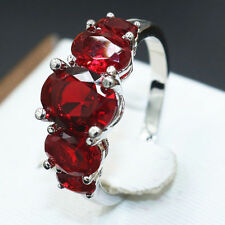 925 Silver 5 Stones Natural 4CT Ruby Topaz  Ring Women Wedding Engagement Size 9