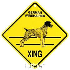German Wirehaired Pointer Dog Crossing Xing Sign New