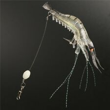 3Pcs White Noctilucent Silicone Fishing Soft Shrimp Prawn--7g 9cm