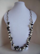 New Sumptuous Long or Medium Length Faux Pearl Necklace in with Silver & Black