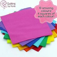 "40 x 10"" Bright Rainbow PreCut Fabric Layer Cake, 10 inch, 10 Colours, Cotton"