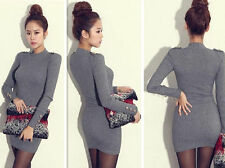 Women Military Dress Tight Turtleneck Gray Bodycon icon NEW + 0% TAX + FREE SHIP