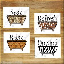 Bathroom Word Wall Art Picture Prints Bathtub Tub Giraffe Tiger Zebra Leopard