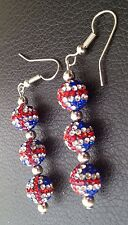 SHAMBALLA UNION JACK  DROP EARRINGS WITH 3 CLAY CZECH CRYSTAL DISCO BEAD-UK SELL