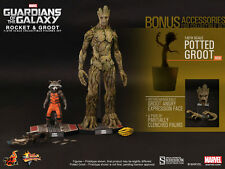 Hot Toys Rocket & Groot 1/6 Scale Figure Set Guardians Of The Galaxy Marvel New