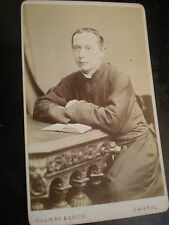 Cdv old photograph priest in cassock Villiers & Quick Bristol c1870s