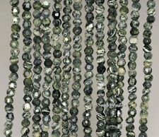 4MM FOLIAGE TREE AGATE GEMSTONE GREEN FACETED ROUND 4MM LOOSE BEADS 15.5""