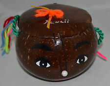 Hawaiian Brown Coconut Shell Whimsical Handbag Purse with Painted Face NWOT