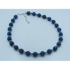 .925 Sterling Silver Natural Galaxy Blue Lapis Green Turquoise Beaded Necklace