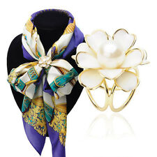 Ladies Fashion 3-Ring Flower Pearl Scarf Buckle Brooches Ring Clip Jewelry