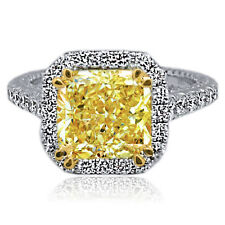 4.61 Carat Fancy Yellow Radiant Cut Halo Diamond 18k W & Y Gold Engagment Ring