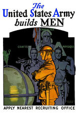 THE UNITED STATES ARMY BUILDS MEN Wall Poster Art print Recruitment decor
