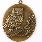 5pcs 145085 Hotsale Bronze Tone Carve Branch Owl Oval Tag Charms Alloy Pendants
