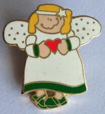 Crazy Angel Love Heart Religious Pin Badge Rare Vintage (F4)