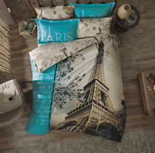 Mothers Day Gift,100% Cotton,Paris in Love Quilt/Duvet Cover Set,Single/Twin,3pc