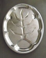 """18"""" X 13.5"""" decorative Vintage Silver Platter ~ Made in Hong Kong"""