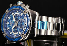 New! Invicta Men's Aviator Ocean Blue Carbonfiber Chronograph SS Bracelet Watch