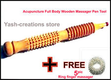 Acupressure Body Wooden Massager Pen tool for hands & foot + 5 pics ring massger