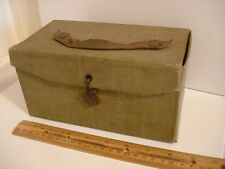 Vintage leather Strapped Cardboard Letter Case box with metal clasp