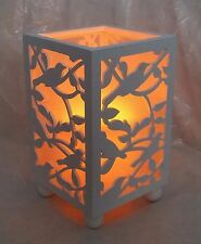 LOOK VINTAGE ~ decorativo in legno bianco FILAGREE BIRD LANTERNA LED candle-new
