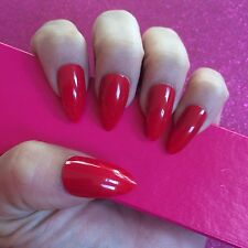 Hand Painted Full Cover False Nails. Stiletto High Gloss Red Nails. 24 Nail Set.