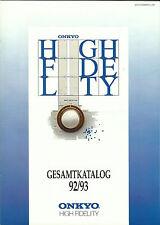 Onkyo catálogo folleto 92/93 tx7840 t9990 a8870 m5890 p3890 cp101a eq201 ta2870