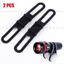 2 x Universal Bike Handle Bar Holder Mounting For Flashlight Torch Black Hot