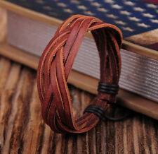 G347 Brown Cool Adjustable Hemp Leather Braided Wristband Bracelet Unisex Mens