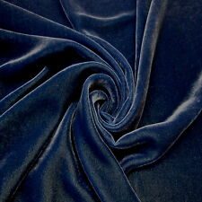 BTY Denim Blue Silk / Rayon Blend Velvet 45 Inch Wide Solid color FABRIC