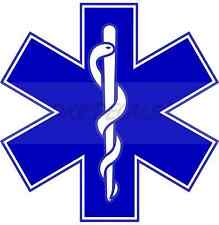 "4"" Star of Life Reflective Emergency Medical EMT Paramedic Decal MTPL Colors"
