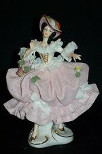 Antique German Porcelain Dresden Lace Victorian Lady Figurine w Hat & Basket