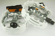 "Old school BMX XC-II Wellgo bear trap pedals 1/2"" (FOR ONE PIECE CRANKS) WHITE"