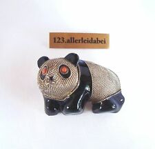 Emaille Brosche Panda Bär Silber Koralle Emaile old enamel coral Brooch / YY 717