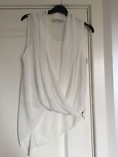Gorgeous Women's All Saints White Silk Abi Sleeveless Drape Blouse Top UK 8