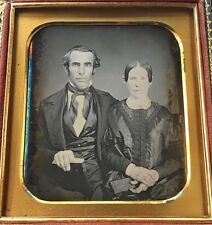 COUPLE SIGNED WORCESTER, MA. ODD OVER SIZED 1/4 CASE DAGUERREOTYPE PHOTO D216