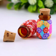 10 pcs Mini Glass Polymer Clay Bottles Containers Vials With Corks CC