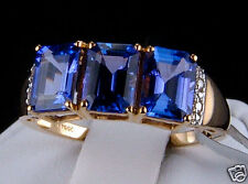 3.20cts Genuine AAA Tanzanite Trilogy with Diamond Accents 10k Gold Ring, Size 7