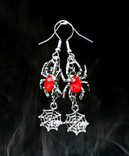 VINTAGE STYLE BLOOD RED CRYSTAL SPIDER WEB DANGLE SILVER EARRINGS~HALLOWEEN GIFT