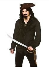 Black Pirate Gothic Medieval Musketeer Shirt Fancy Dress Costume Small 38""