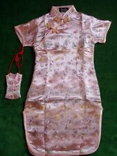 New Girls Pink Chinese/Oriental  Dress 6-7 Year+Purse