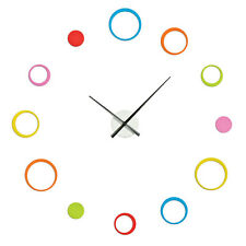 MODERN DIY WALL CLOCK MULTI COLORED CIRCLES CUSTOMIZATION HOME OFFICE BEDROOM