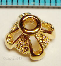 2x VERMEIL 18K GOLD plated STERLING SILVER STARDUST BEAD CAP 7.7mm G068