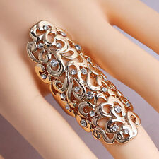 Women Stylish Rhinestone Full Finger Joint Armor Knuckle Ring Hollow Out Jewelry