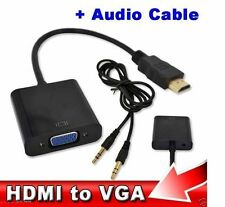 HDMI to VGA Adaptor Converter Cable With Audio Stereo SounAUX Cable Inbuilt Chip