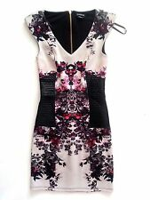 NWT BEBE black multi color floral v neck Leather gold zipper back top dress XS