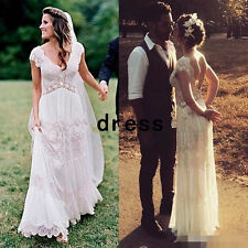 Deep V Neck Bohemian Lace Beach Wedding Dress Backless Bridal Gown Custom 10 12+