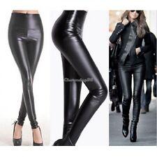 New Ladies Black Wet Look Leggings Side Faux Leather PU Panel Skinny One Size