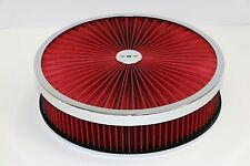 """14"""" X 3"""" Chrome Round Red High Flow Thru Washable Air Cleaner Drop Base SBC 350"""