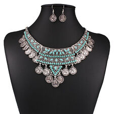 Ladies  Crystal Rhinestone Silver Coins Pendant Choker Necklace Womens Jewelry
