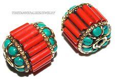 Nepal beads 2 Nepalese Beads Tibetan beads handmade coral turquoise beads B210